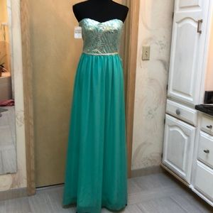 Seafoam green with sequins and beading